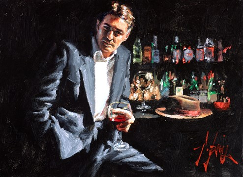 Red Wine and Black Suit (Reversed) by Fabian Perez - Original Painting on Stretched Canvas